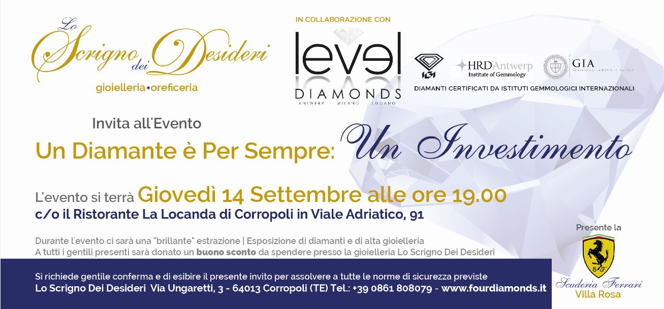 INVITO all'evento - Un Diamante è per sempre: Un Investimento