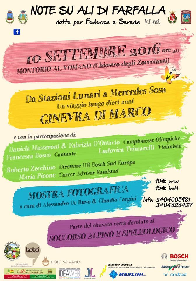 """Il 10 settembre a Montorio torna """"Note su ali di farfalla"""""""