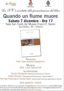Teramo, 7 dicembre presentazione del libro QUANDO UN FIUME MUORE  DI ENZO DELLE MONACHE