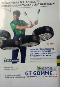 Volantinaggio distribuzione pubblicitaria costa adriatica per Gt Gomme Euromaster