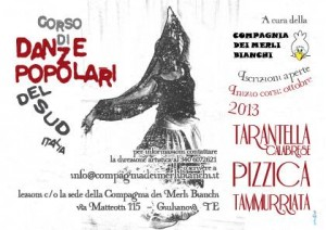 Volantino flyer pubblicitario Giulianova - Scuola di danze popolari Compagnia dei Merli Bianchi