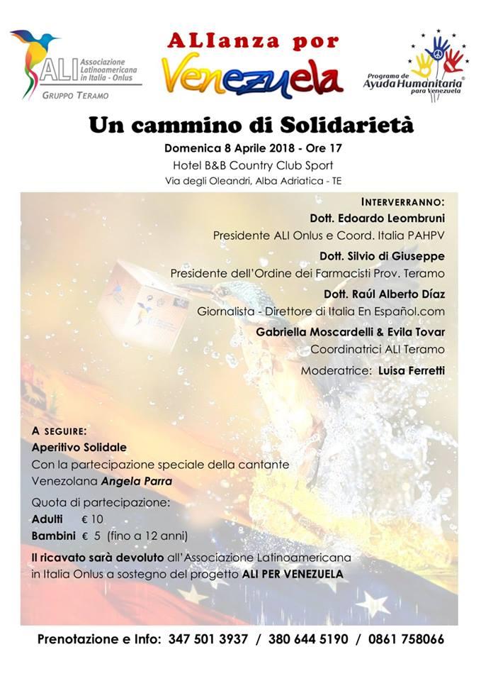 Alba Adriatica, ALIanza por VENEZUELA Un cammino di solidarietà