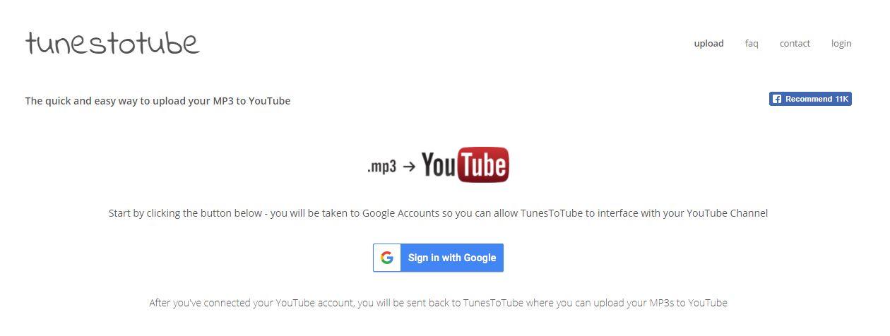 Caricare audio MP3 su Youtube - TunesToTube