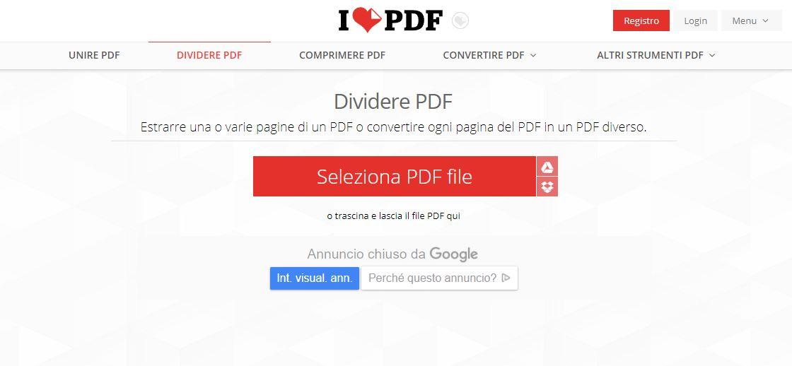 Come dividere PDF online