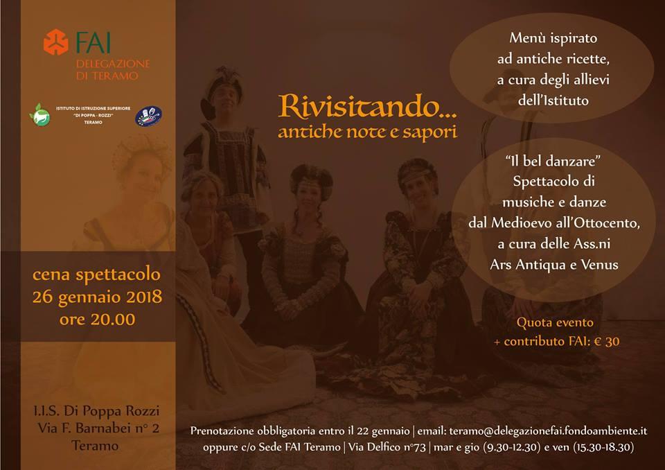 cena spettacolo d'inizio anno con la Delegazione FAI Teramo il 26 gennaio