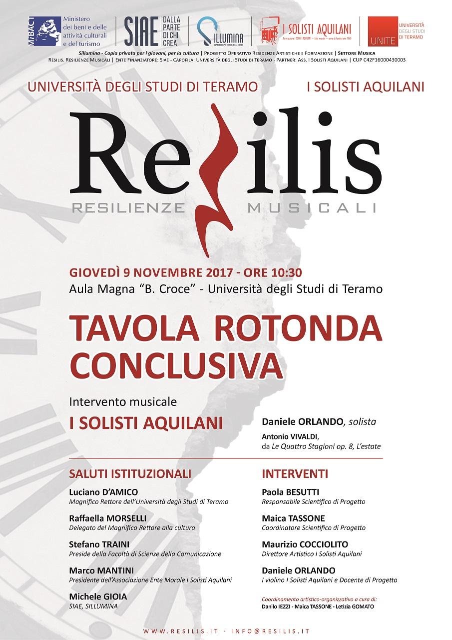 Teramo, 9 Novembre RESILIS - Tavola Rotonda Conclusiva