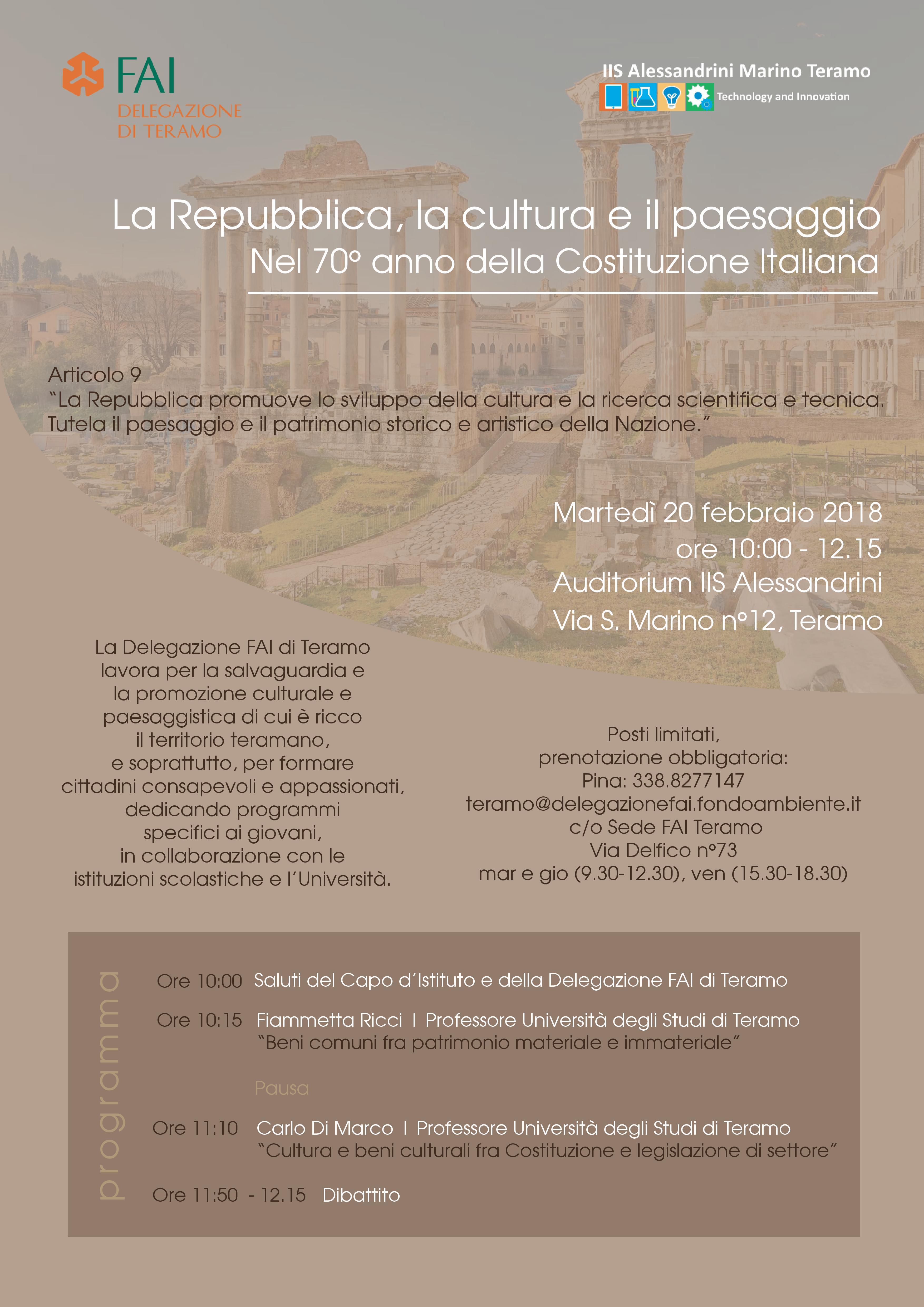 Teramo : La Repubblica, la cultura e il paesaggio Nel 70° anno della Costituzione Italiana