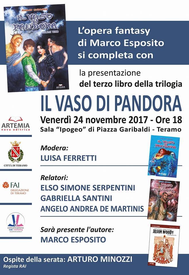 """Esce il terzo volume della trilogia """"Il vaso di pandora"""" scritto dal giovane Marco Esposito"""