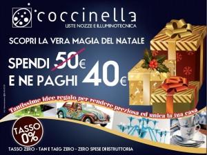 Grafica manifesto per Natale a Giulianova - Coccinella illuminotecnica - articoli da regalo - liste nozze