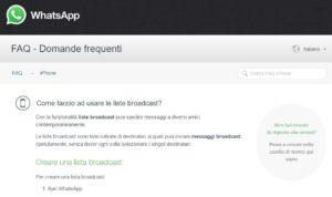 WhatsApp - Cosa sono le liste broadcast