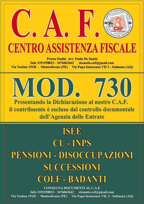 Distribuzione pubblicitaria volantinaggio Pescara, per il CAF di Montesilvano