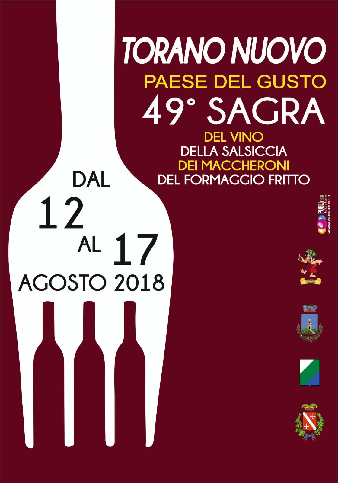 49^ Sagra Torano Nuovo 2018 dal 12 - 17 Agosto