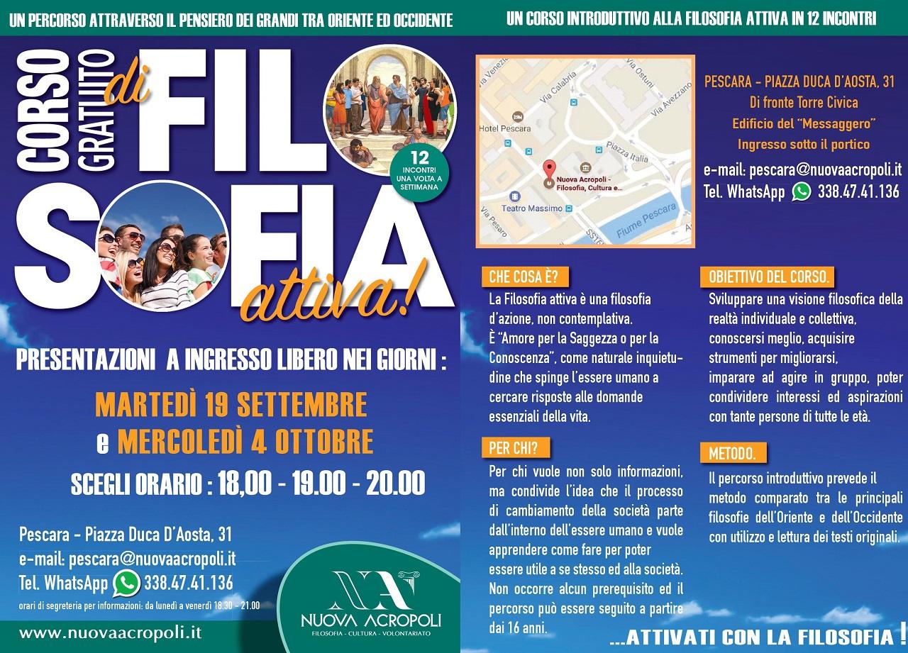 Pescara, in partenza Corso Gratuito di Filosofia Attiva